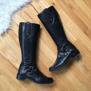 Paul Green Knee High Buckle Riding Boots Black